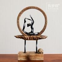 新中式42公分莲花瑜伽大摆件创意家居装饰品客厅玄关书房桌面摆设