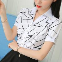 白 夏季新款短袖V领白色条纹印花女款正装衬衣泡泡袖工作服