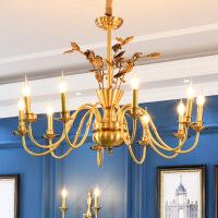 照明美式乡村全铜吊灯简约客厅餐厅艺术铜灯北欧卧室书房温馨纯铜灯具