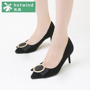 热风hotwind2018秋新款高跟鞋女细跟一脚套浅口女士圆扣尖头皮鞋H04W7308