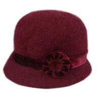 冬天兔毛针织帽老人帽子女保暖中老年人帽子秋冬季毛线妈妈帽围巾