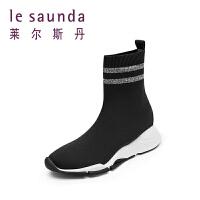 莱尔斯丹 秋冬专柜时尚瘦瘦腿短靴袜子靴女靴运动鞋9T42013