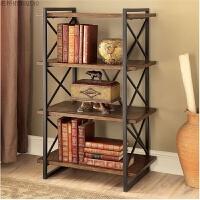美式货架实木书架 钢木置物架 新古典书架 展示架陈列架 复古书架