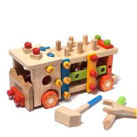 【当当自营】木玩世家 拆装工具车 3岁儿童螺母益智智力木制拆装拼接拼搭积木玩具 BH3301