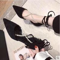 韩版百搭一字扣高跟鞋女新款尖头细跟带凉鞋性感浅口单鞋