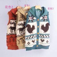 冬季加厚连帽羊羔毛卡通马甲女保暖舒适背心外套马夹上衣