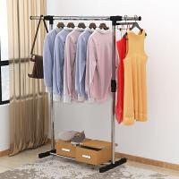 晾衣架落地伸缩不锈钢室内折叠双杆式卧室凉衣服架子阳台挂晒衣架