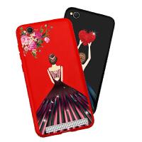 免邮 小米手机壳 手机套 新款镶钻全包保护壳 背景女孩红米5a 红米 5A 保护套