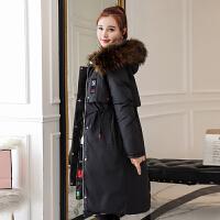 2018冬季新款双面羽绒女两面穿大毛领过膝中长款加厚棉袄外套