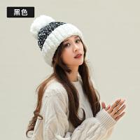 冬季帽子女冬天时尚韩版潮甜美秋冬拼色针织毛线帽保暖护耳毛帽