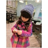 新款童装秋季大衣2岁9岁女童格子夹棉外套呢子上衣儿童加厚风衣