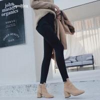 打底裤女外穿高腰韩版新款九分小脚裤女紧身裤铅笔裤 黑色