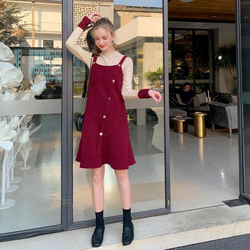 MG小象毛衣套装两件套2019新款冬季韩版宽松长袖打底衫吊带背心裙