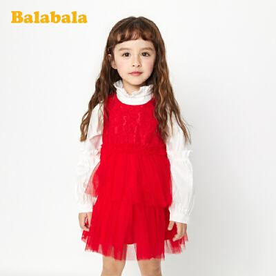 巴拉巴拉童装女童公主裙春季小童宝宝连衣裙洋气儿童裙子蕾丝裙女