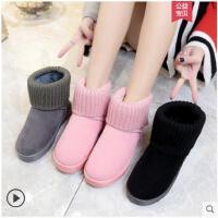 厚底雪地靴女短靴子新款加绒保暖棉鞋原宿风女靴韩版学生女鞋