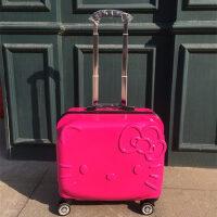 儿童拉杆箱女万向轮18寸llo KIT行李箱20寸立体KT凯蒂猫旅行 18寸玫红色KT 彩钻箱套贴纸等