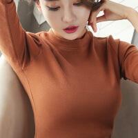 加绒打底衫女2018秋冬新款纯色长袖T恤百搭纯棉紧身纯色上衣体恤