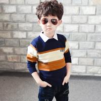 男童假两件毛衣秋装17新款儿童韩版针织衫中大童毛线衣 QK白领撞色毛衣 橘黄色