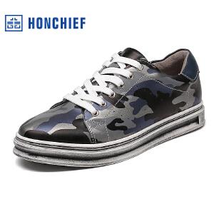 HONCHIEF 红蜻蜓旗下 秋季新款青春潮流休闲板鞋男士迷彩真皮男鞋