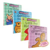 【中商原版】童话触摸故事纸板书系列4册 英文原版The Three Little Pigs触摸书