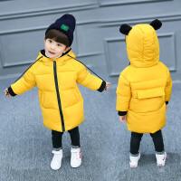 儿童棉衣男童装2-3-4-5-6-7岁潮小男孩加绒厚棉衣棉袄羽绒 黄色 小熊棉衣