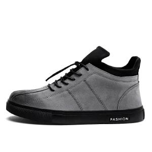 欧洲站秋季黑色板鞋男韩版潮流男士休闲皮鞋小黑鞋磨砂真皮男鞋子