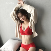 本命年大红色无钢圈内衣女聚拢性感蕾丝加厚小胸调整型收副乳文胸