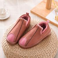 男士棉拖鞋包跟冬季居家室内加绒保暖防滑加厚底防水外穿棉鞋靴子 皮粉 8010款