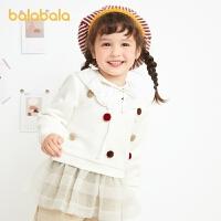 【3件4折:75.6】巴拉巴拉童�b�和��l衣�B衣裙女童2020新款秋冬女小童����甜美洋��