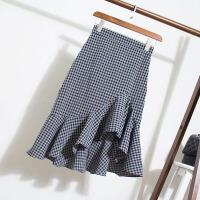 2018083010368542018新款不规则格子鱼尾裙半身裙女夏新款裙子高腰荷叶边包臀裙中长款