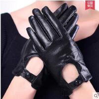 手套 女全指手套 防滑耐磨手套 真皮手套女士司机开车保暖修手皮手套网眼按扣薄款羊皮手套