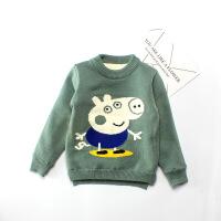 儿童加绒毛衣2017秋新款韩版中小童男宝宝小猪佩奇加厚针织衫