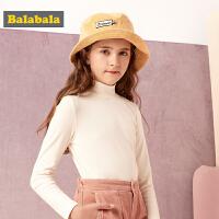 巴拉巴拉女童t恤长袖儿童打底衫2019新款秋冬中大童高领上衣保暖