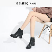 戈美其冬季新品粗跟高跟棉鞋圆头复古加绒保暖棉靴女短靴
