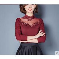 秋冬装新款半高领大码上衣小衫加绒加厚蕾丝打底衫女长袖修身