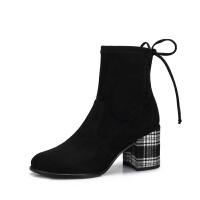 camel骆驼女鞋新款冬季优雅气质细腻英伦风条纹格子粗跟高跟女靴子