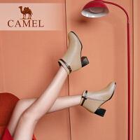 camel骆驼女鞋新款小短靴女冬季瘦瘦靴保暖加绒短筒粗跟高跟女靴子