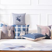 北欧简约沙发抱枕靠垫棉麻办公室靠枕靠背垫ins风格含芯护腰枕垫