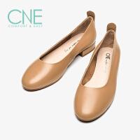 【顺丰包邮,大牌价:294】CNE2019春夏新款船鞋温柔鞋日系圆头平底奶奶鞋女单鞋AM06314