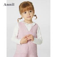 【2件4折价:199.6】安奈儿童装女童套装连衣裙2021春新款洋气宝宝无袖礼裙上衣两件套