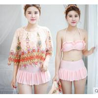 户外泳装女民族风罩衫性感聚拢游泳衣 新款韩时尚分体三角比基尼泳衣女