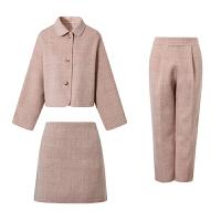 2018秋季新款气质格纹毛呢外套纯色套装短款毛大衣女装