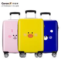 卡拉羊拉杆箱18�佳�生行旅箱新款万向轮儿童密码箱时尚卡通旅行箱CX8633