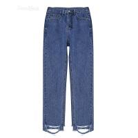 春季韩国新款学院风裤脚割破毛边基础款高腰百搭直筒牛仔裤长裤女 蓝色