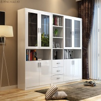 现代简约创意书柜组合 书房玻璃门简易烤漆书桌大型书橱书架家具