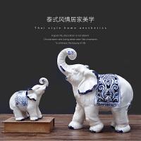 办公室摆件书柜桌面装饰现代工艺品个性创意陶瓷大象摆设