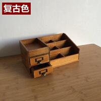 zakka桌面木质化妆品收纳盒木制格子超大号护肤复古梳妆台实木盒