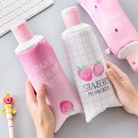 创意个性韩国铅笔袋零食搞怪简约少女心小清新可爱初中学生文具盒