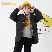 【4件3折�r:209.4】巴拉巴拉�和�羽�q服男童2020新款冬�b中大童外套中�L款�r尚�\�映�