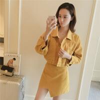 春季2018新款韩版时尚套装牛仔短外套女半身裙两件套4629 金黄